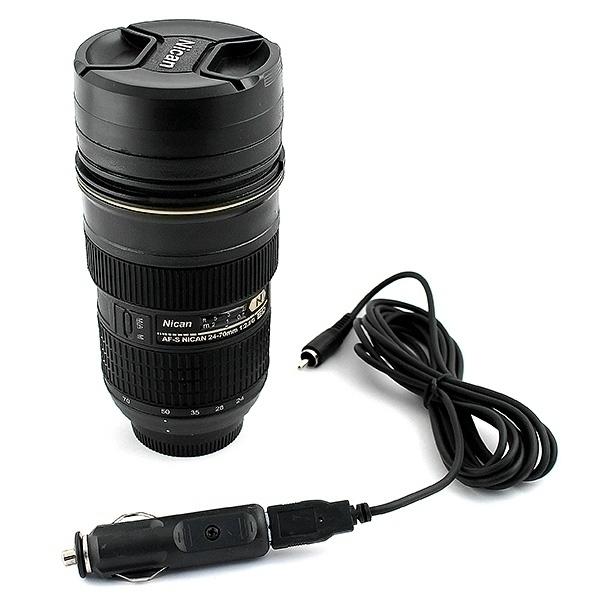 Термостакан в виде объектива от фотоаппарата с подогревом от прикуривателя.