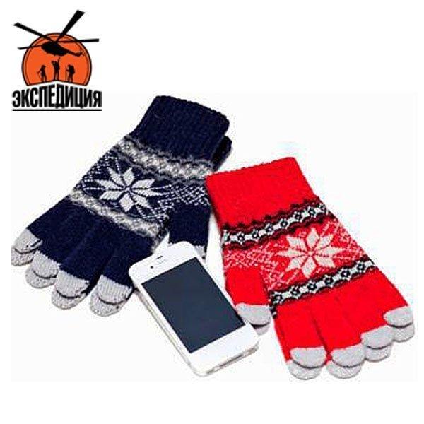 Перчатки трикотажные для iPhone со снежинками