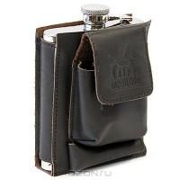 Фляга в кожаном чехле с карманом для сигарет и зажигалки