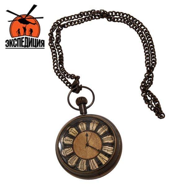 """Медные часы на цепочке в деревянной коробке под стеклом """"Нансен"""""""