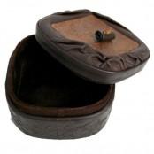Круглая шкатулка из натуральной кожи, ручная работа