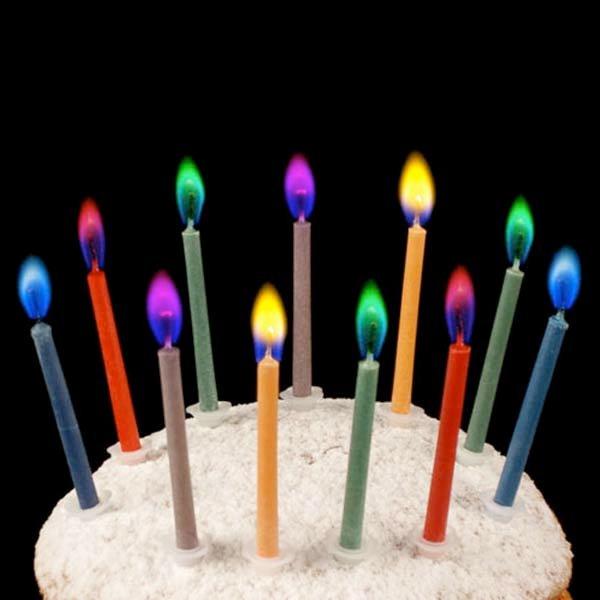 Свечи для торта с разноцветным пламенем